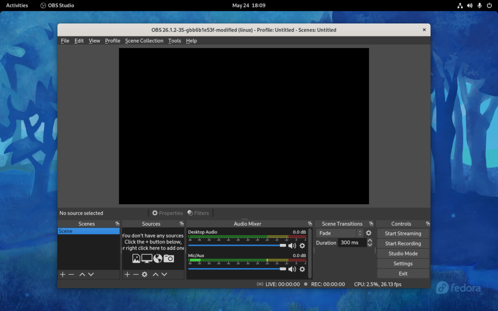 OBS Studio Window On Fedora