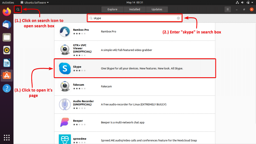 Search For Skype In Software Center