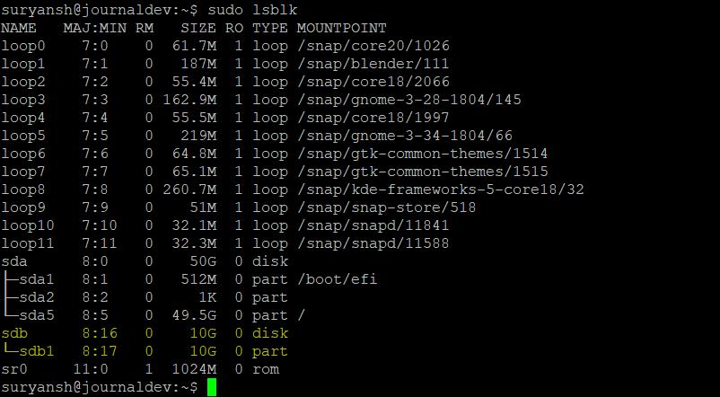 Sudo Lsblk Output