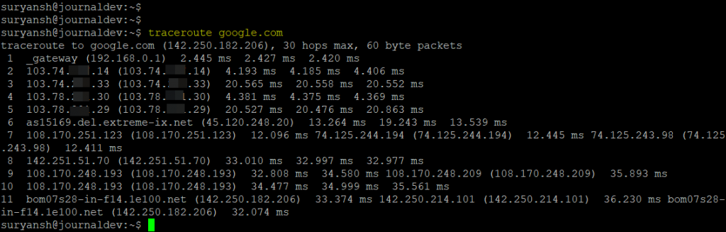 Traceroute Output