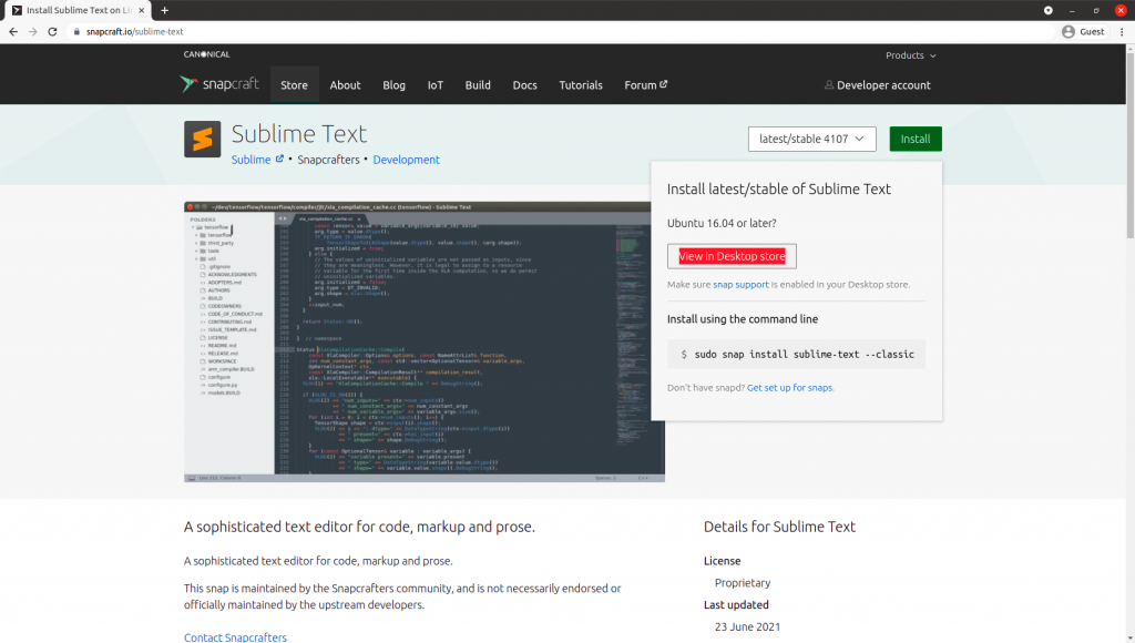 Sublime Text Snapcraft