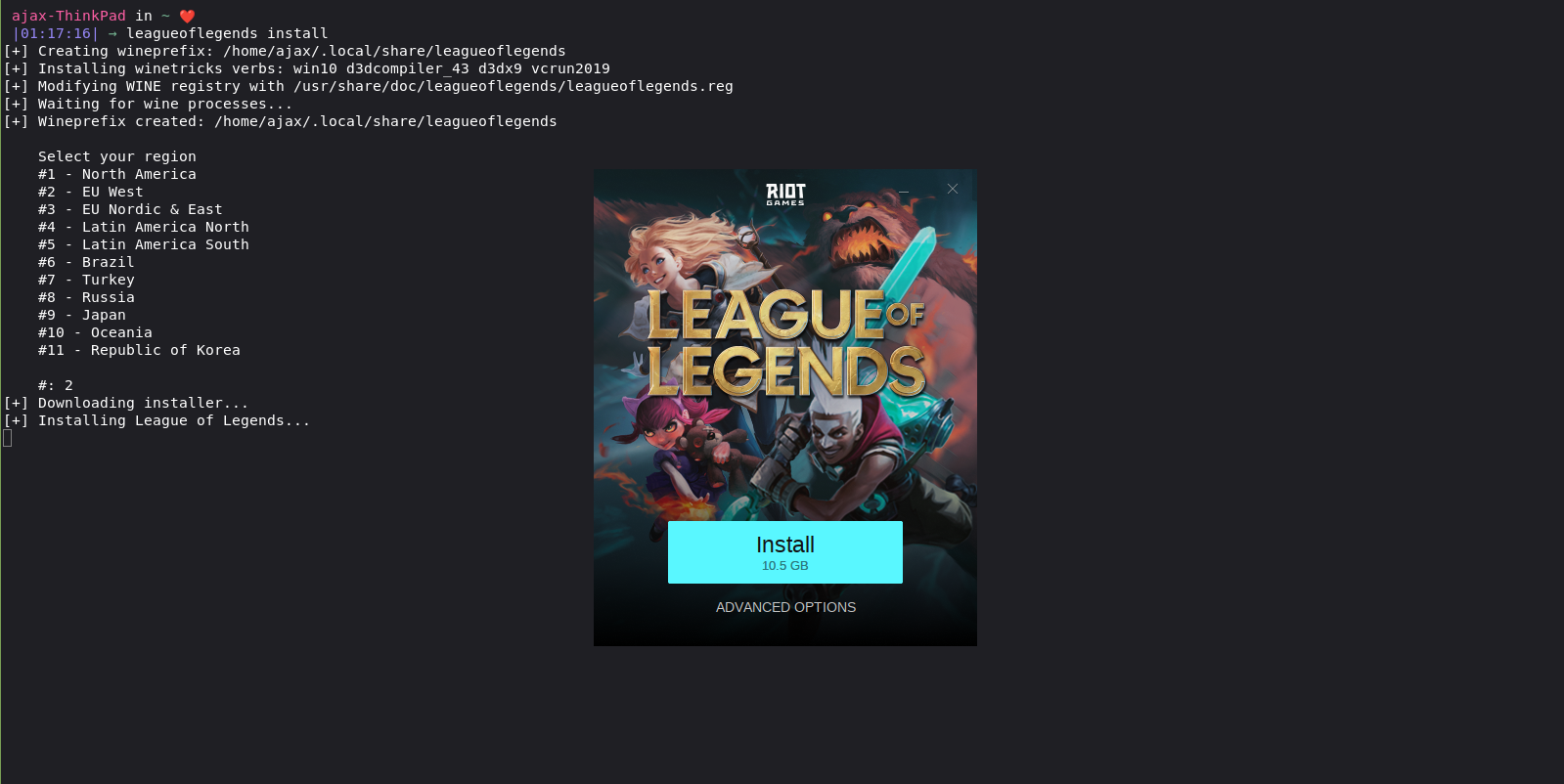 install League Of Legends on Linux