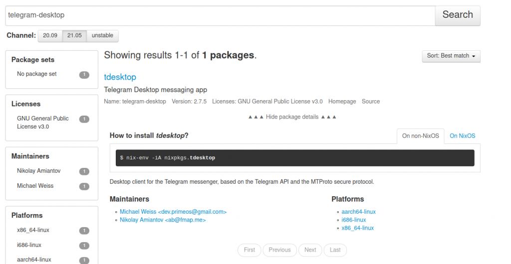 Online Nix Package
