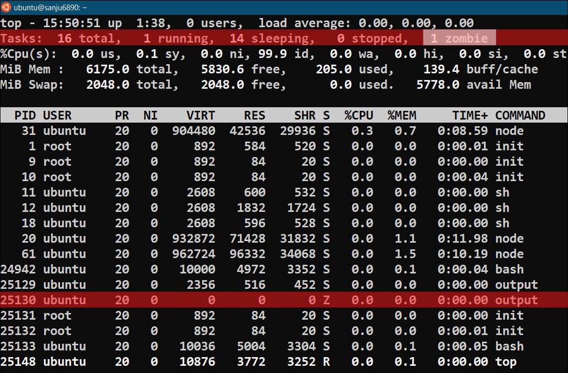 Output of top command for defunct process zombie process