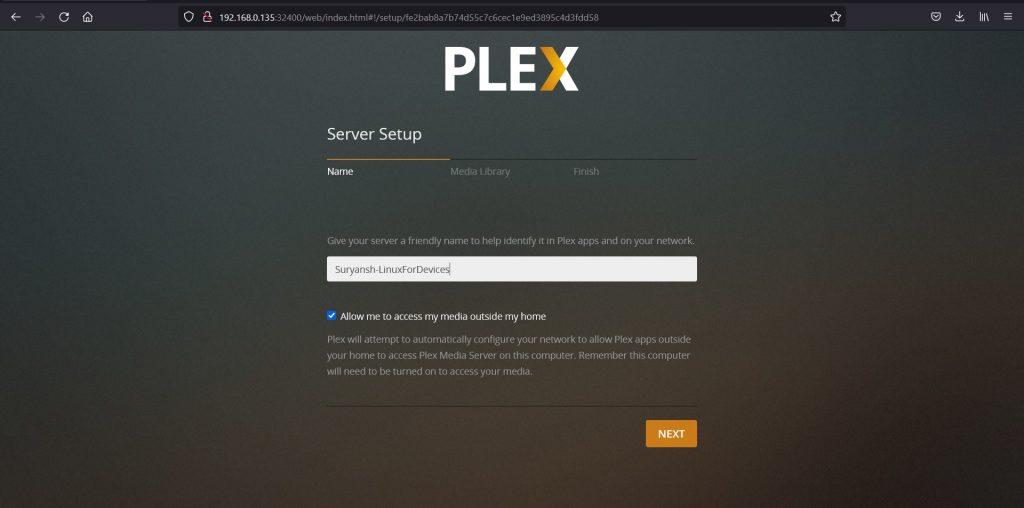 Choose A Name For Your Plex Media Server