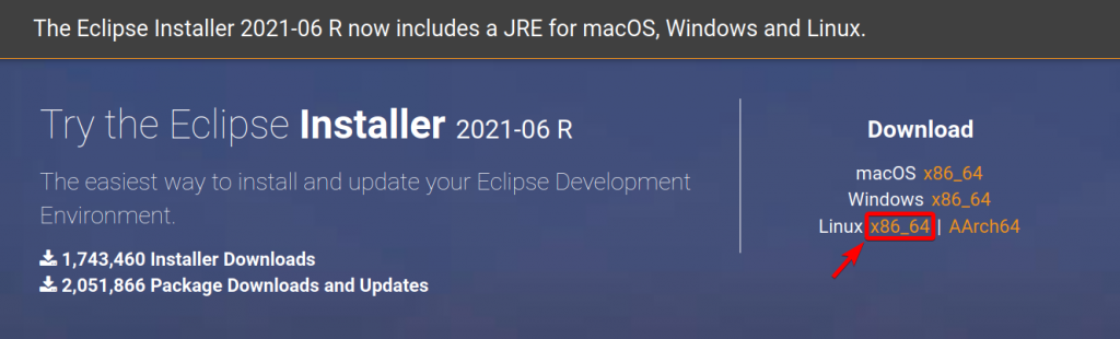 Click To Download The Eclipse Installer For Linux