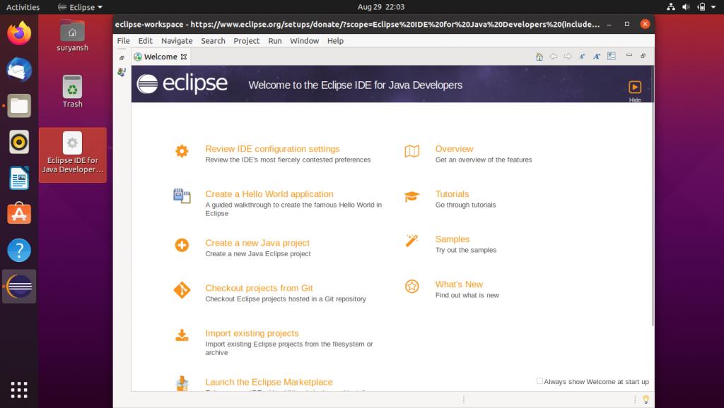 Eclipse IDE On Ubuntu Desktop