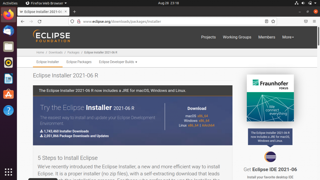 Eclipse Installer Web Page