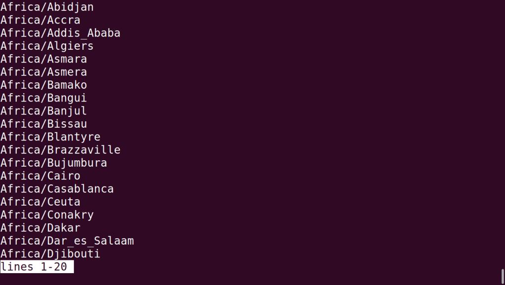Timedatectl List Timezones Output