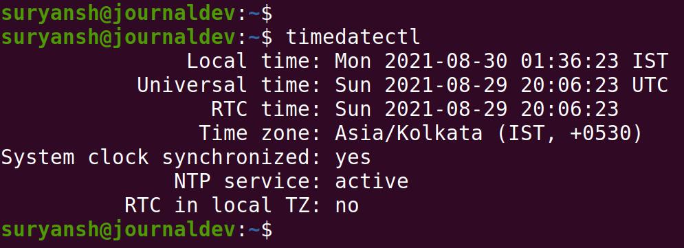 Timedatectl Output